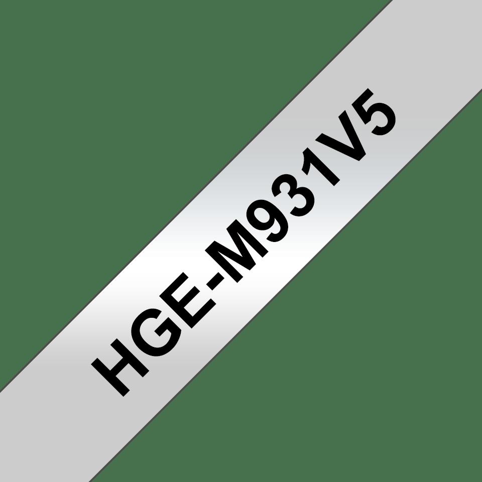 Cassetta nastro per etichettatura originale Brother HGe-M931V5 – Nero su argento, 12 mm di larghezza