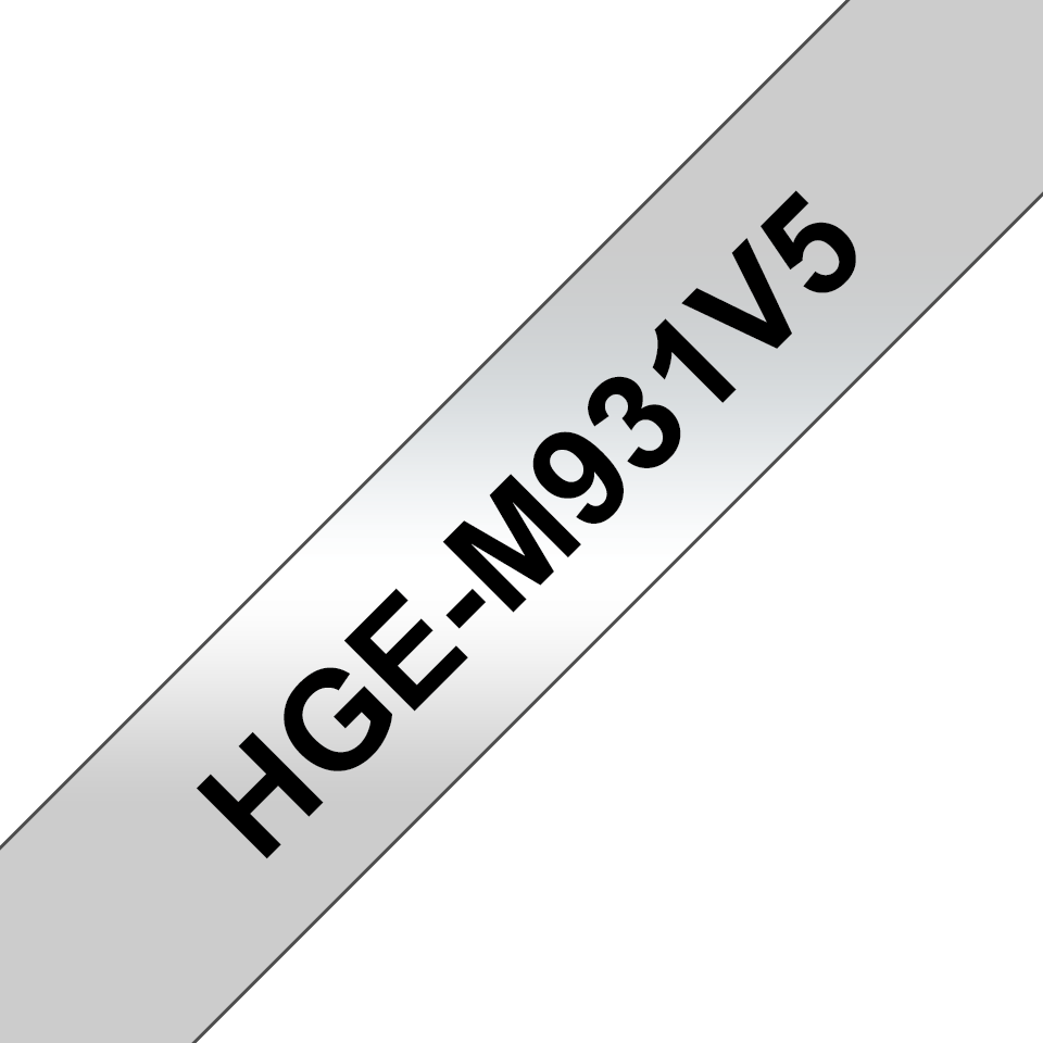Cassetta nastro per etichettatura originale Brother HGe-M931V5 – Nero su argento, 12 mm di larghezza 0