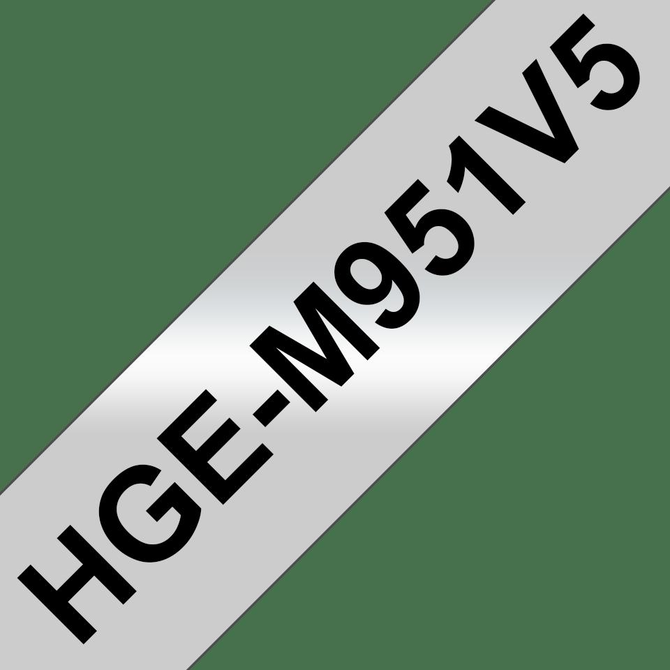 Nastri per etichettatura originali Brother HGe-M951V5 – Nero su argento opaco, 24 mm di larghezza