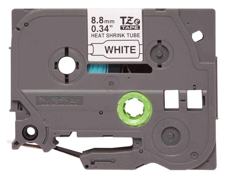 Rotolo di etichette originale Brother HSe-221 – Termorestringente nero su bianco, 8,8 mm x 1,5 m