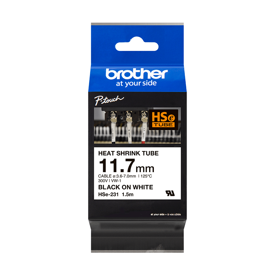 Cassetta tubo termorestringente originale Brother HSe-231 – Nero su bianco, 11,7 mm di larghezza 2