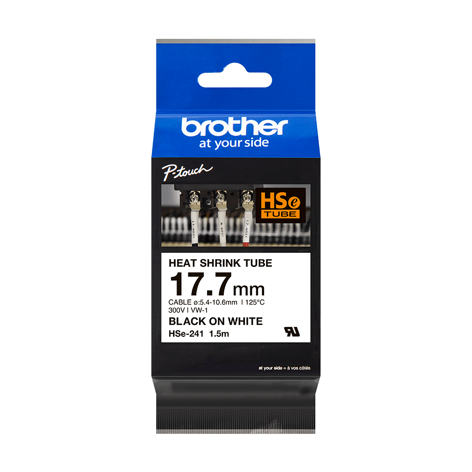 Cassetta tubo termorestringente originale Brother HSe-241 – Nero su bianco, 17,7 mm di larghezza 1