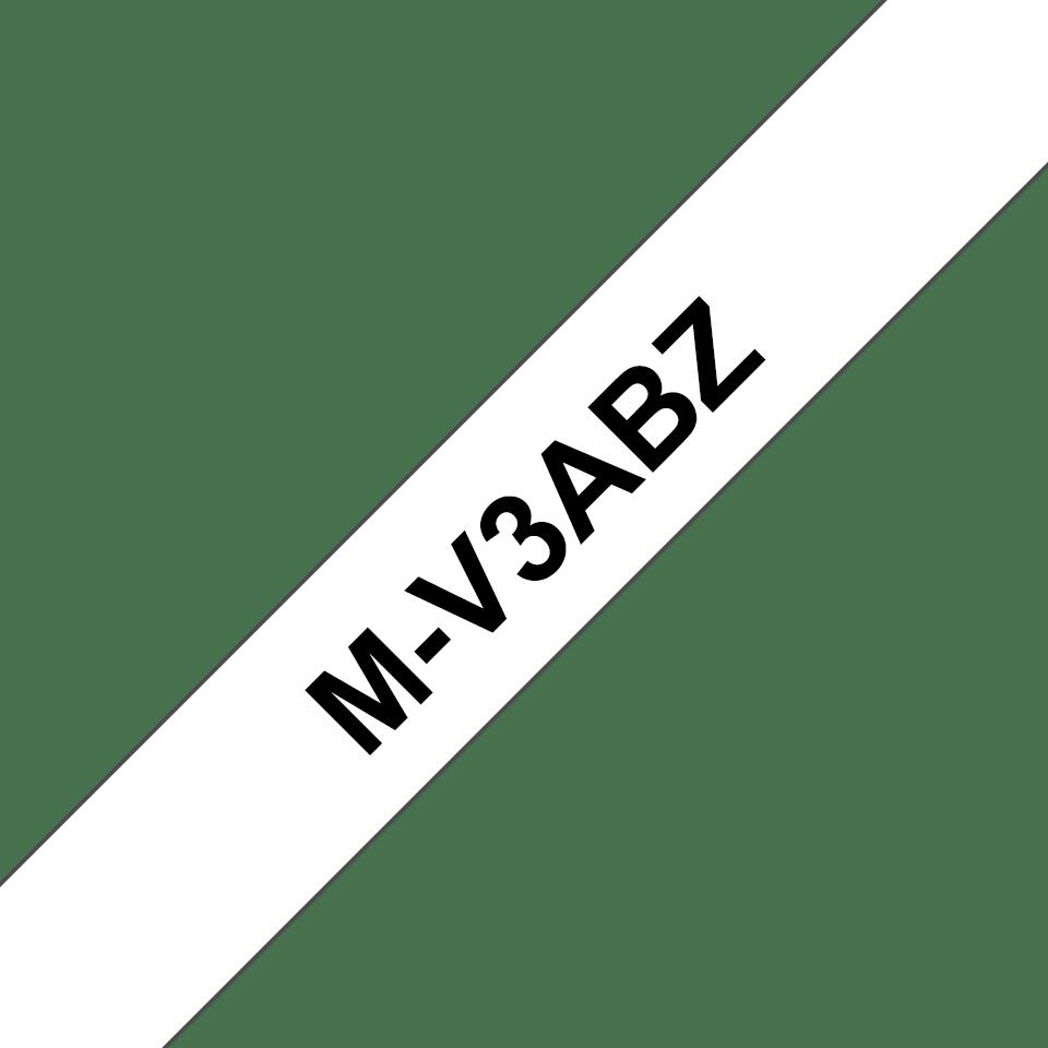 Nastri per etichettatura originali Brother M-V3ABZ – Nero su bianco, confezione multipla 0