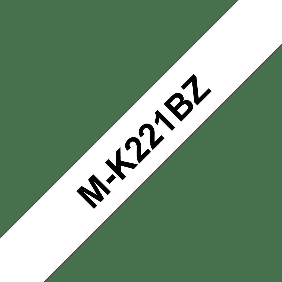 Cassetta nastro per etichettatura originale Brother M-K221BZ – Nero su bianco, 9 mm di larghezza
