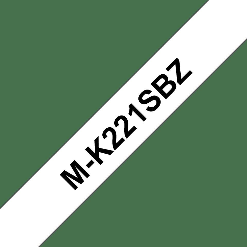 Cassetta nastro per etichettatura originale Brother M-K221SBZ – Nero su bianco, 9 mm di larghezza
