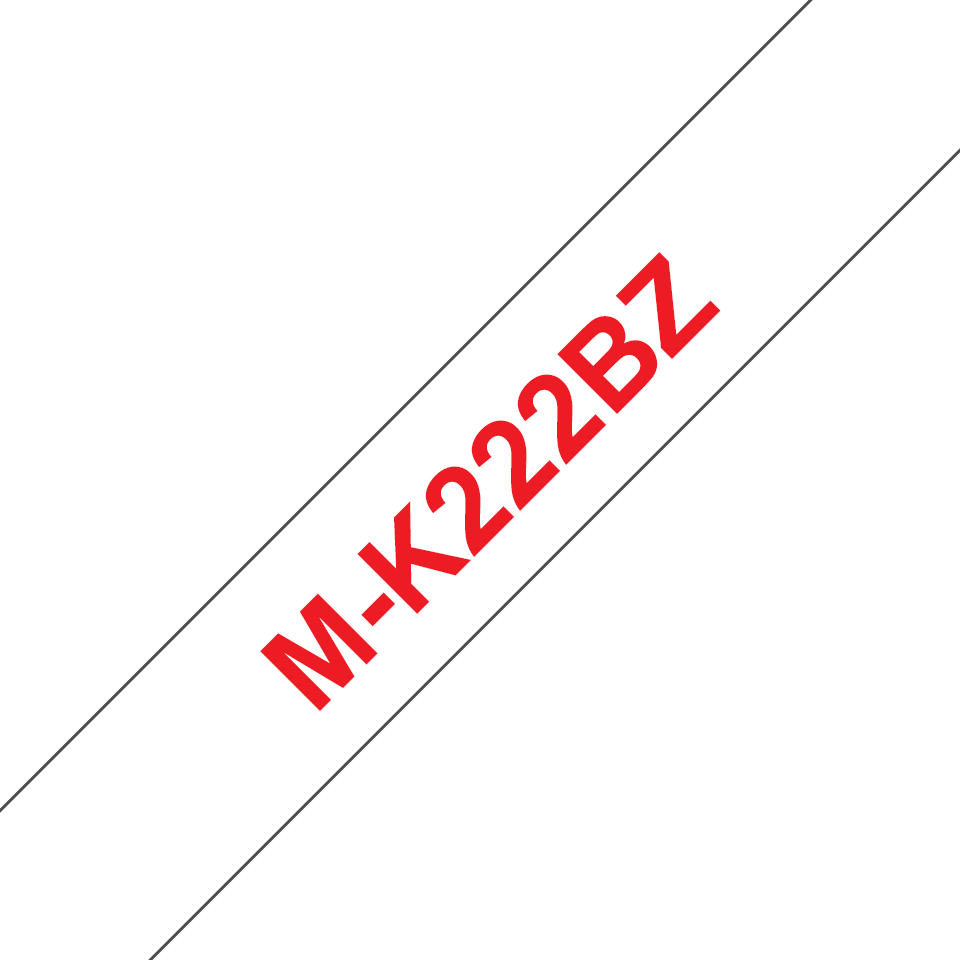 Cassetta nastro per etichettatura originale Brother M-K222BZ – Rosso su bianco, 9 mm di larghezza