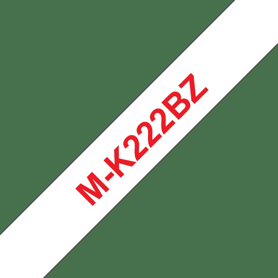 Cassetta nastro per etichettatura originale Brother M-K222BZ – Rosso su bianco, 9 mm di larghezza 0