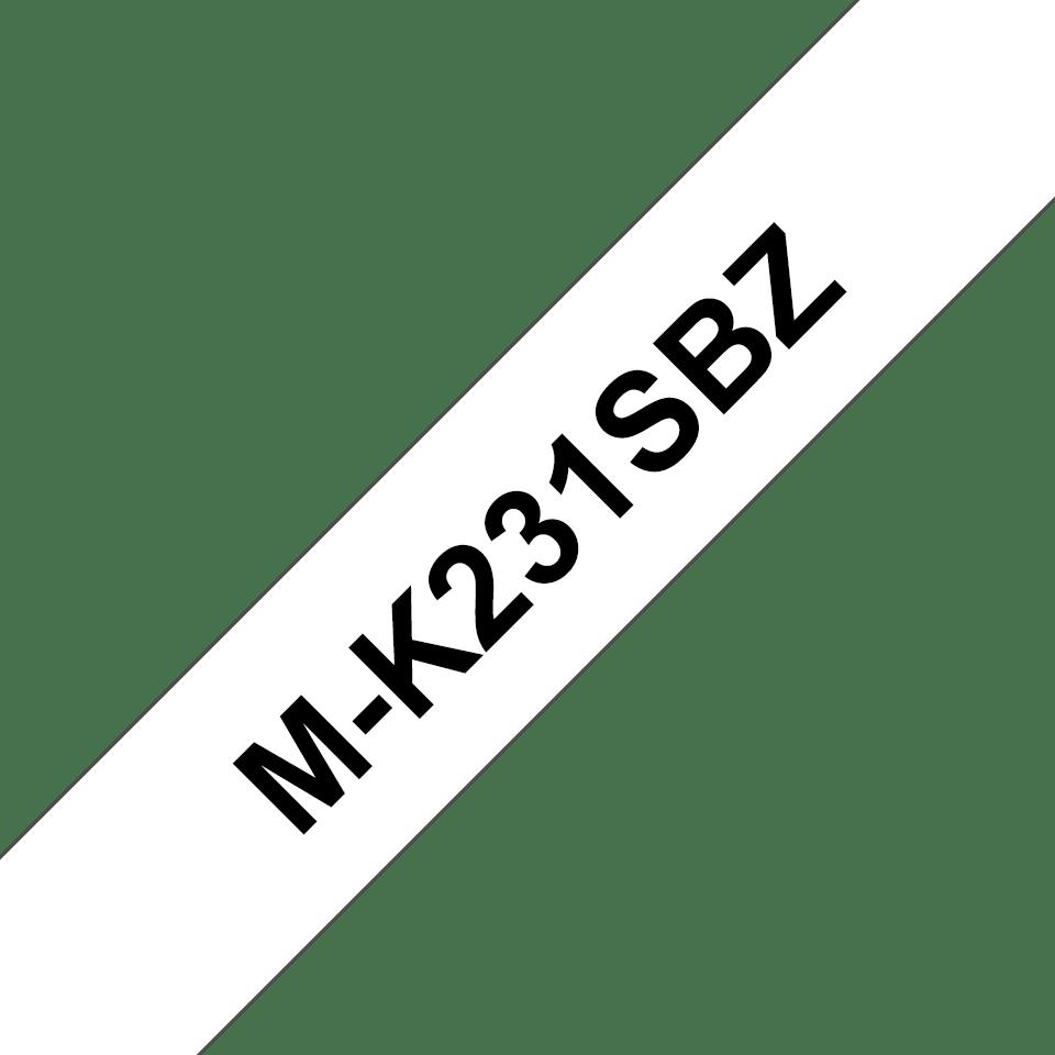 Cassetta nastro per etichettatura originale Brother M-K231SBZ – Nero su bianco, 12 mm di larghezza 0