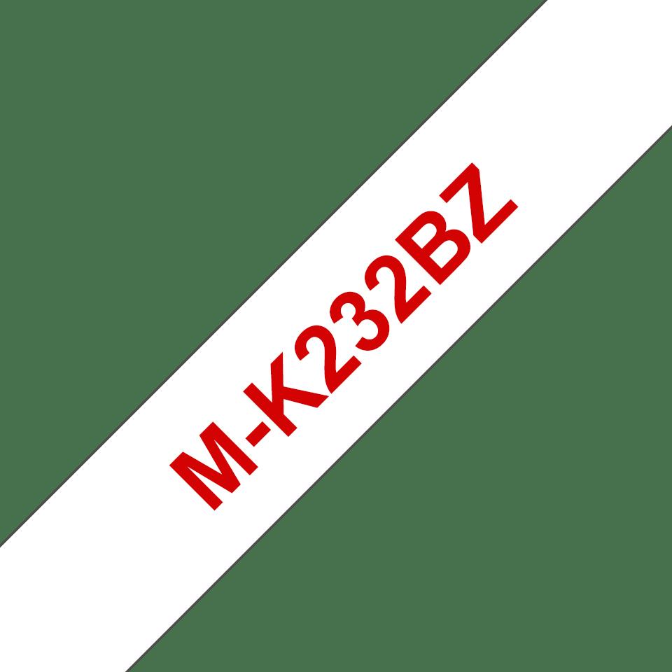 Cassetta nastro per etichettatura originale Brother M-K232BZ – Rosso su bianco, 12 mm di larghezza