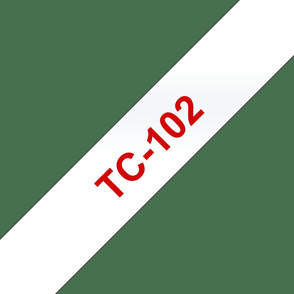 Brother TC-102 Cassetta nastro per etichettatura originale  – Rosso su trasparente