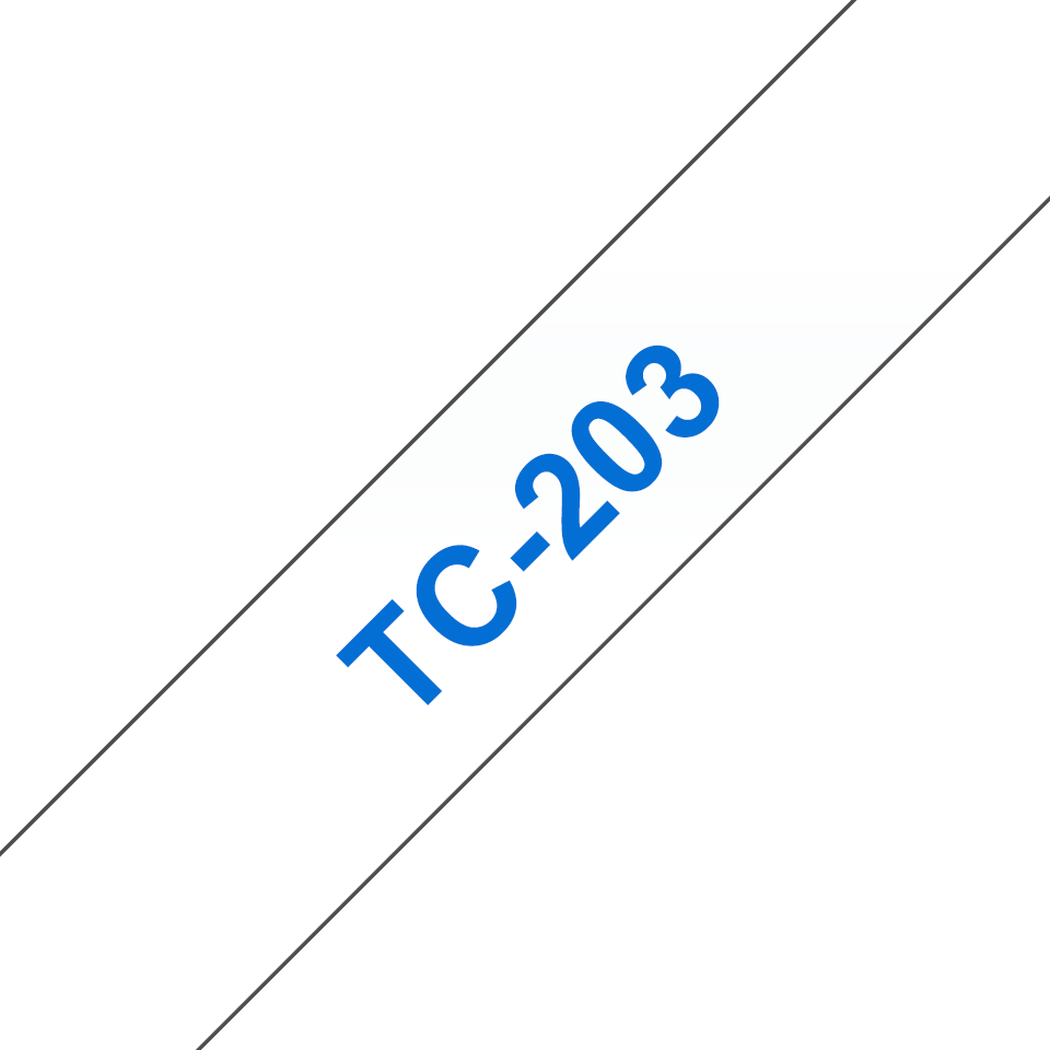 Brother TC-203 Cassetta nastro per etichettatura originale - Blu su bianco