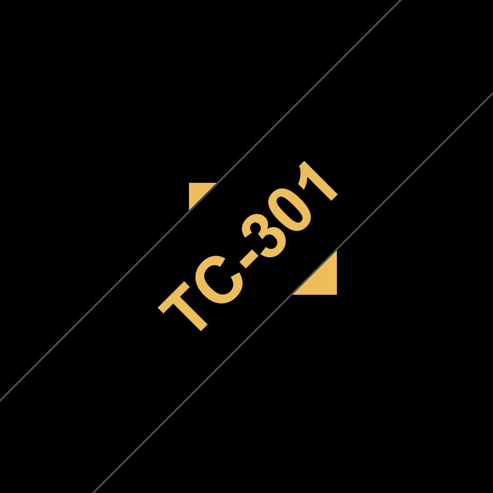Brother TC-301 Cassetta nastro per etichettatura originale - Oro su nero
