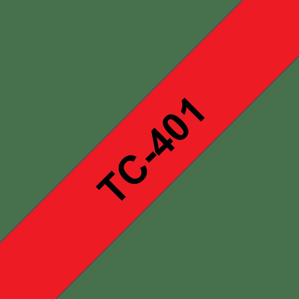 Brother TC-401 Cassetta nastro per etichettatura originale – Nero su rosso