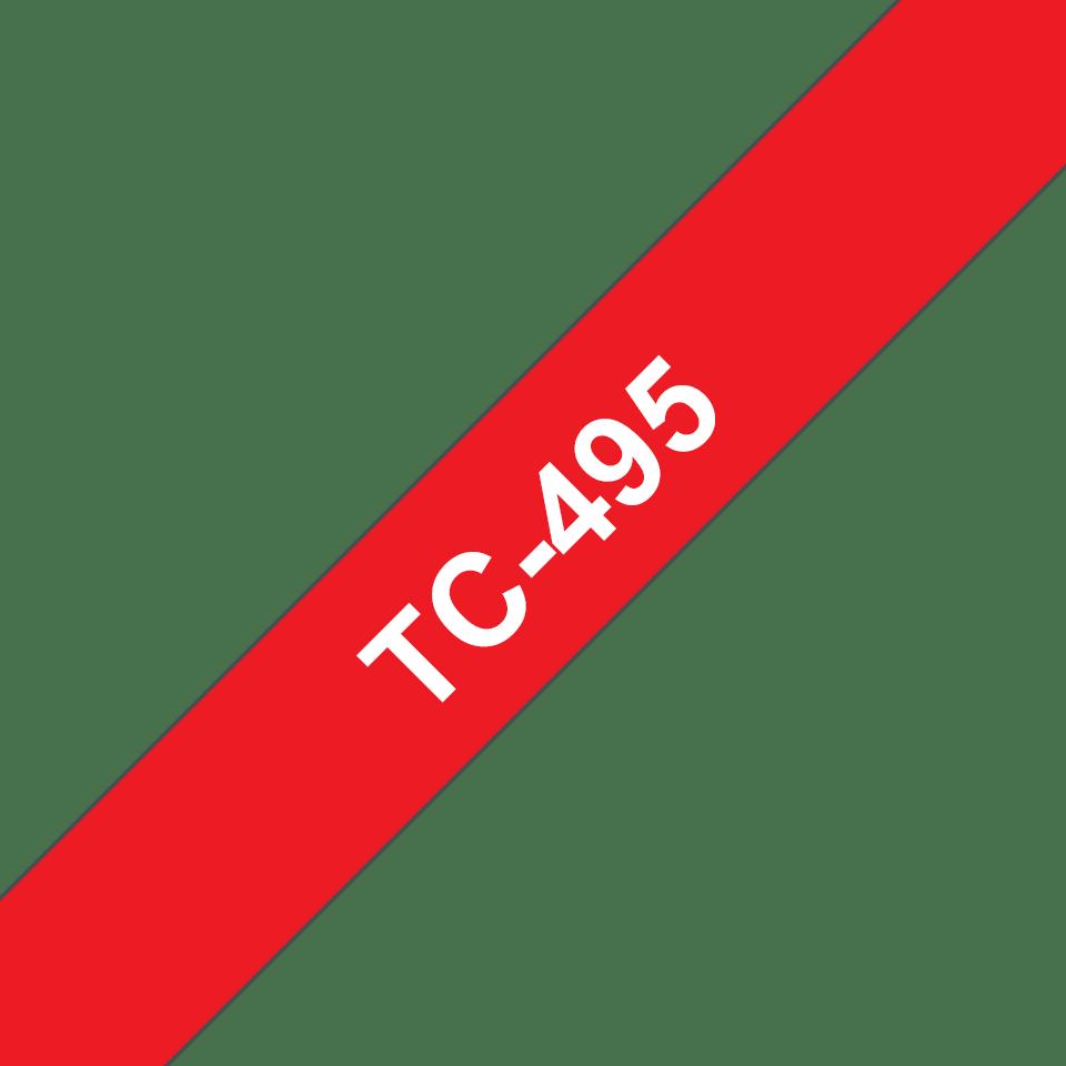 Brother TC-495 Cassetta nastro per etichettatura originale - Bianco su rosso