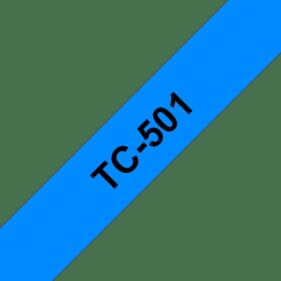 Brother TC-501 Cassetta nastro per etichettatura originale – Nero su blu