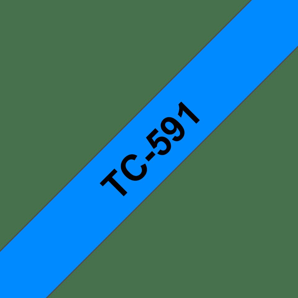 Brother TC-591 Cassetta nastro per etichettatura originale - Nero su blu