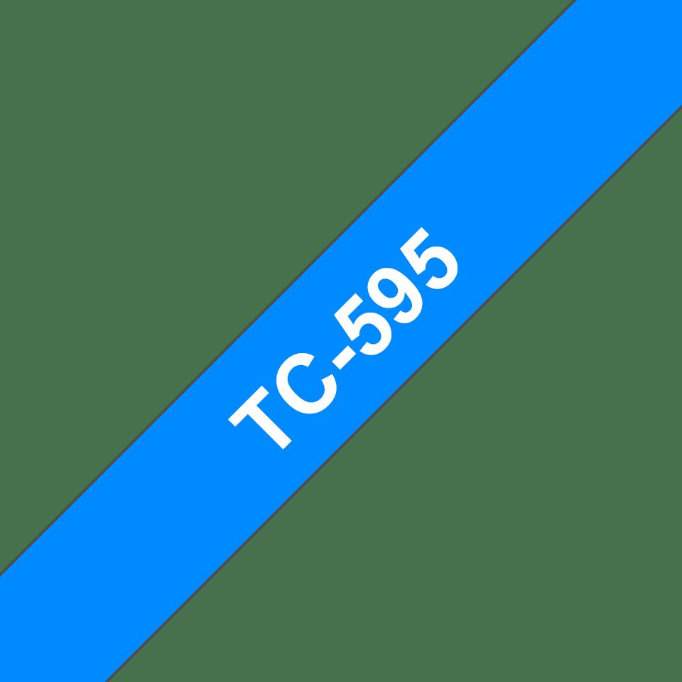 Brother TC-595 Cassetta nastro per etichettatura originale - Bianco su blu 0