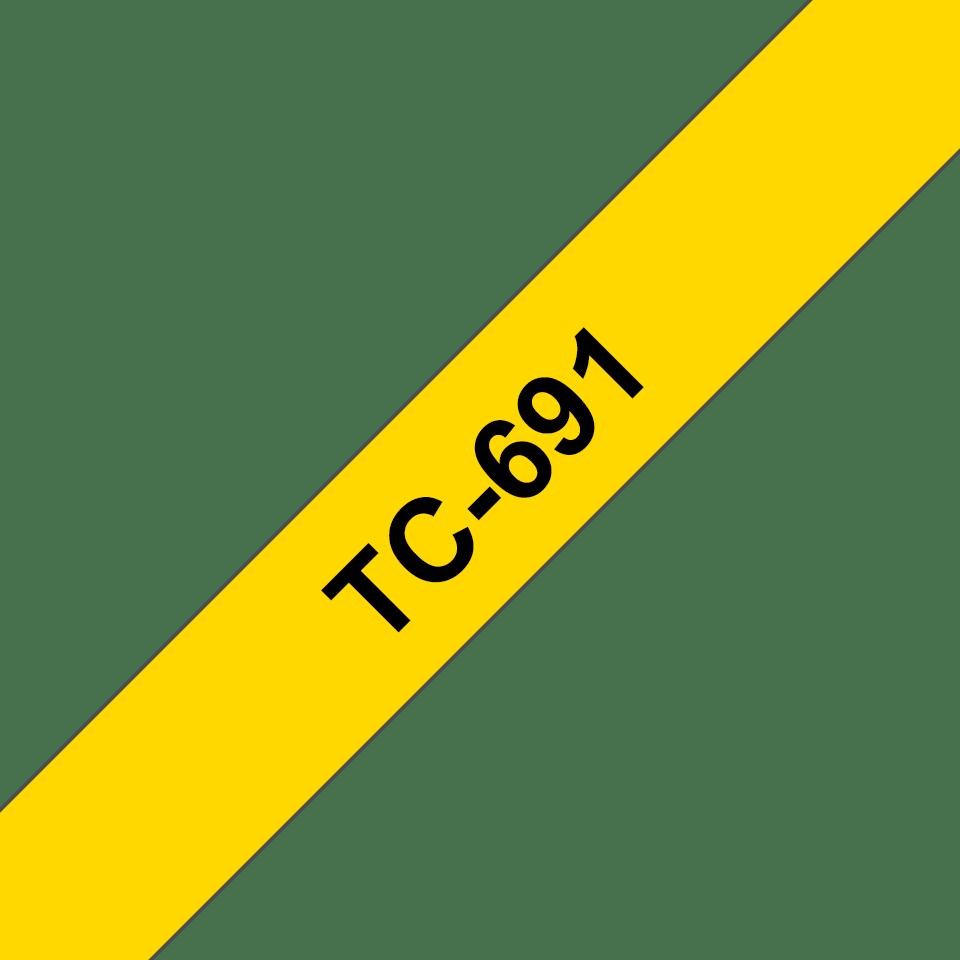 Brother TC-691 Cassetta nastro per etichettatura originale - Nero su giallo