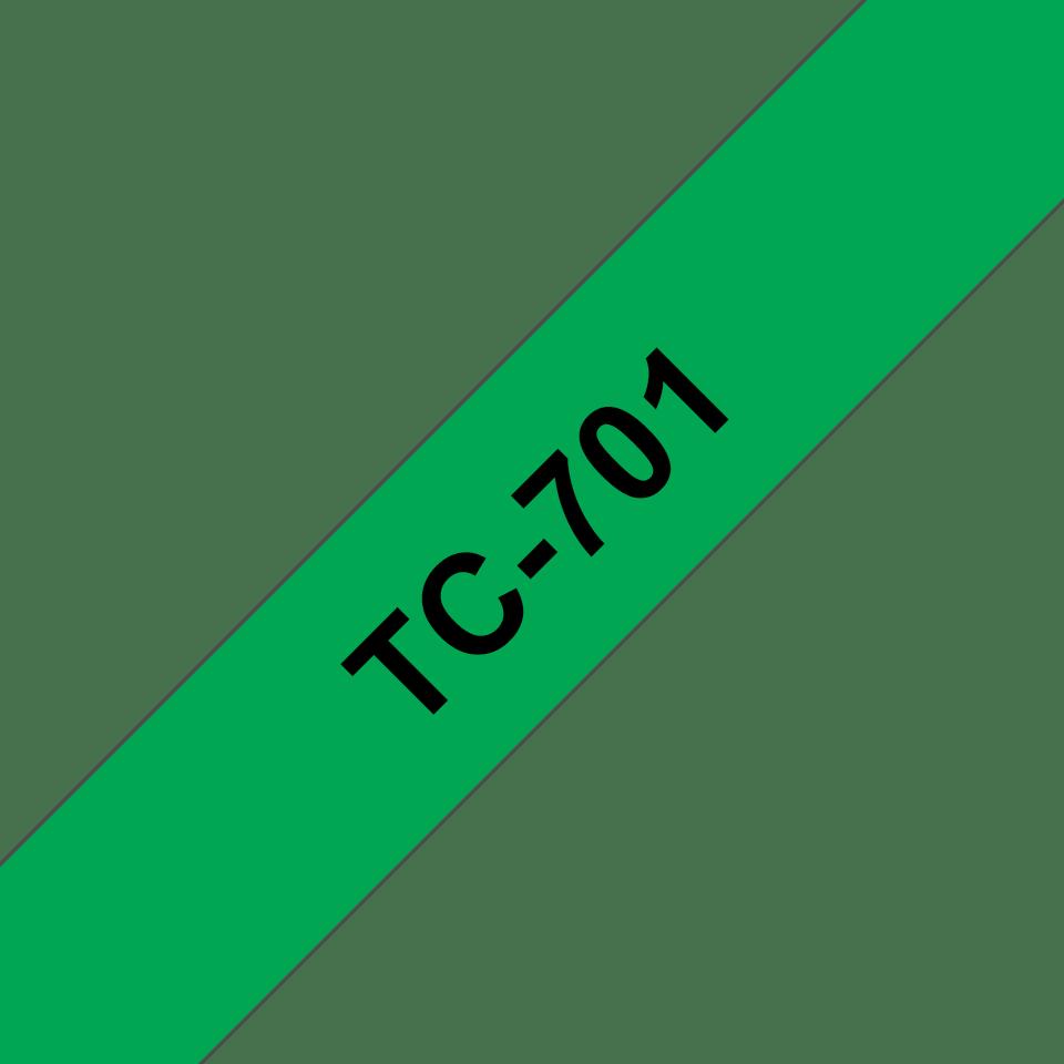 Brother TC-701 Cassetta nastro per etichettatura originale - Nero su verde