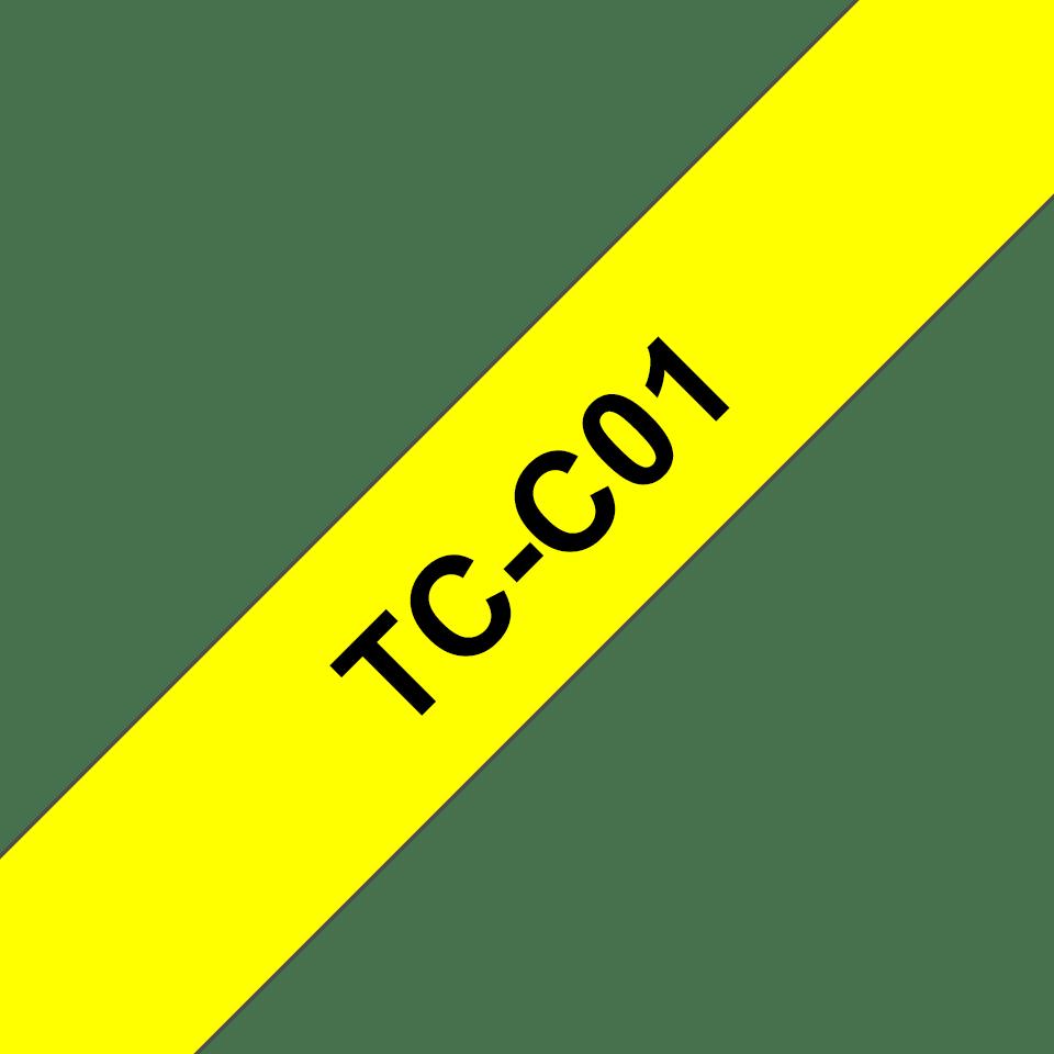 Brother TC-C01 Cassetta nastro fluorescente per etichettatura originale - Nero su giallo