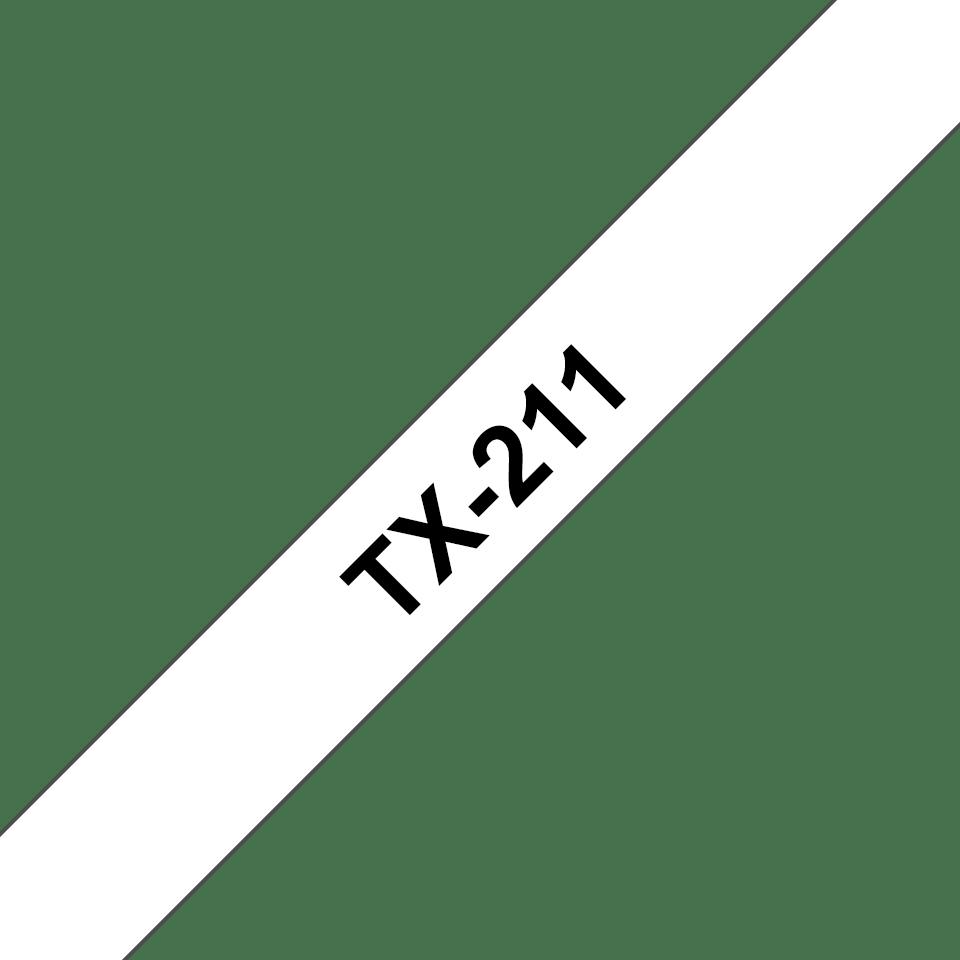 Cassetta nastro per etichettatura originale Brother TX-211 – Nero su bianco, 6 mm di larghezza