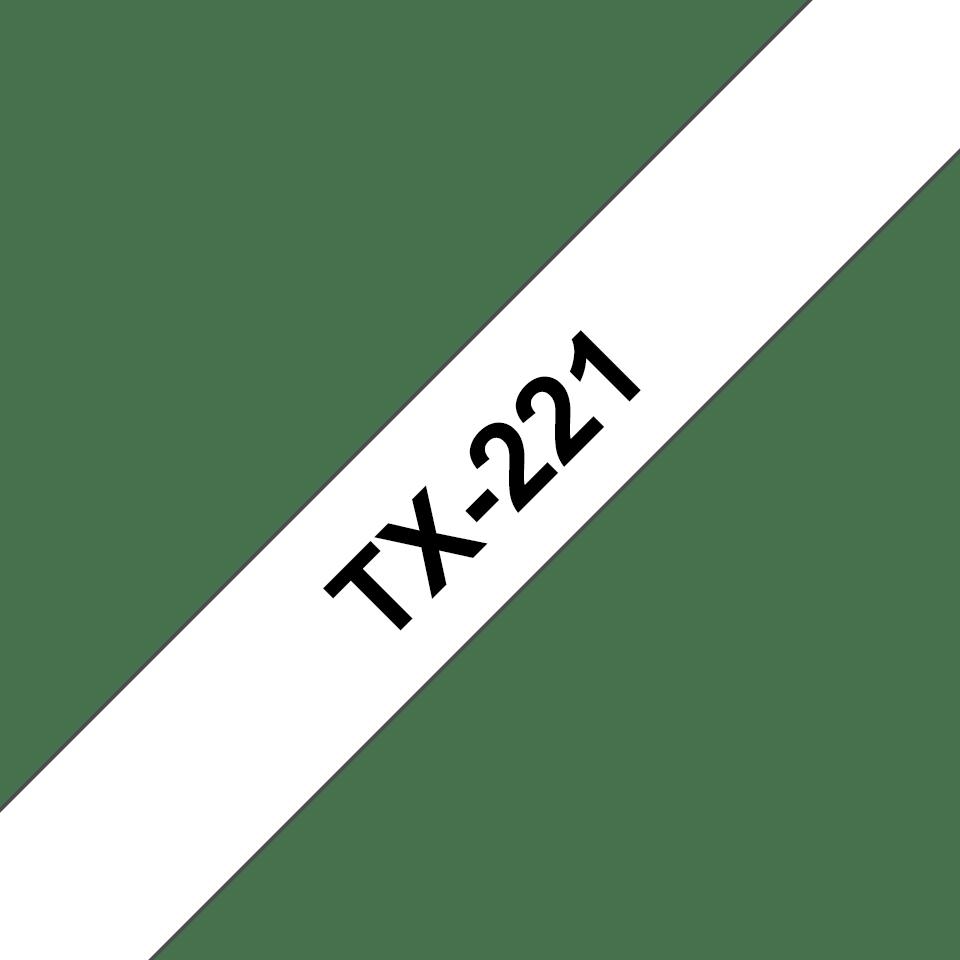 Cassetta nastro per etichettatura originale Brother TX-221 – Nero su bianco, 9 mm di larghezza 0