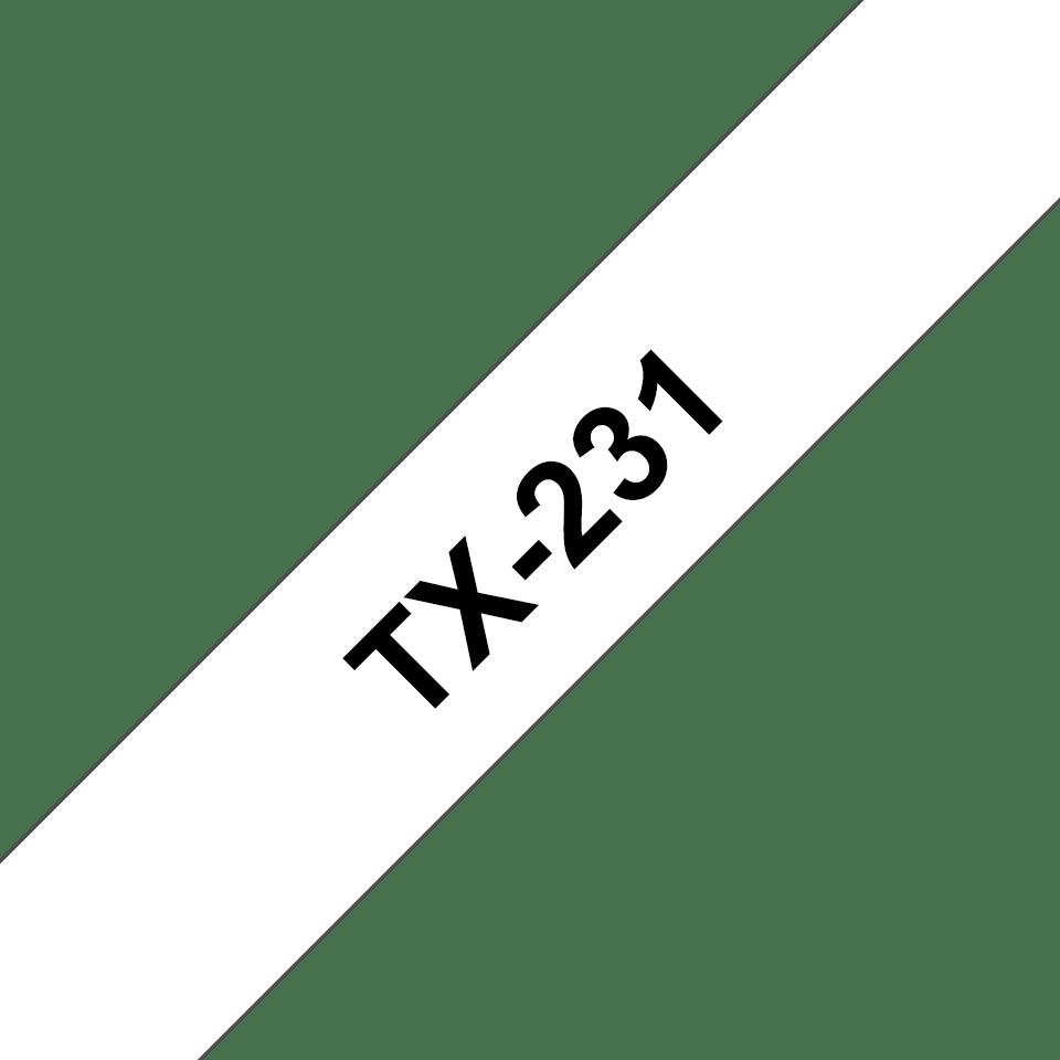 Cassetta nastro per etichettatura originale Brother TX-231 – Nero su bianco, 12 mm di larghezza