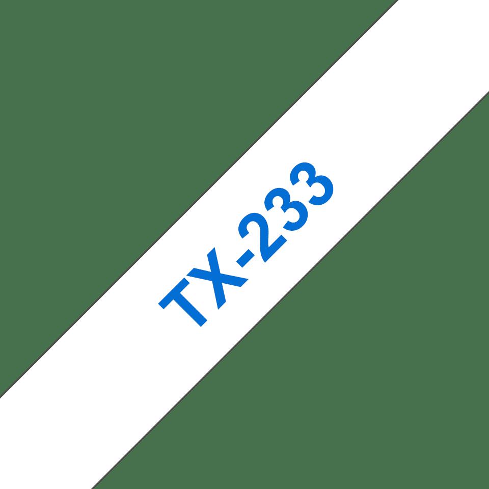 Brother TX-233 Nastro laminato - blu su bianco (12 mm)