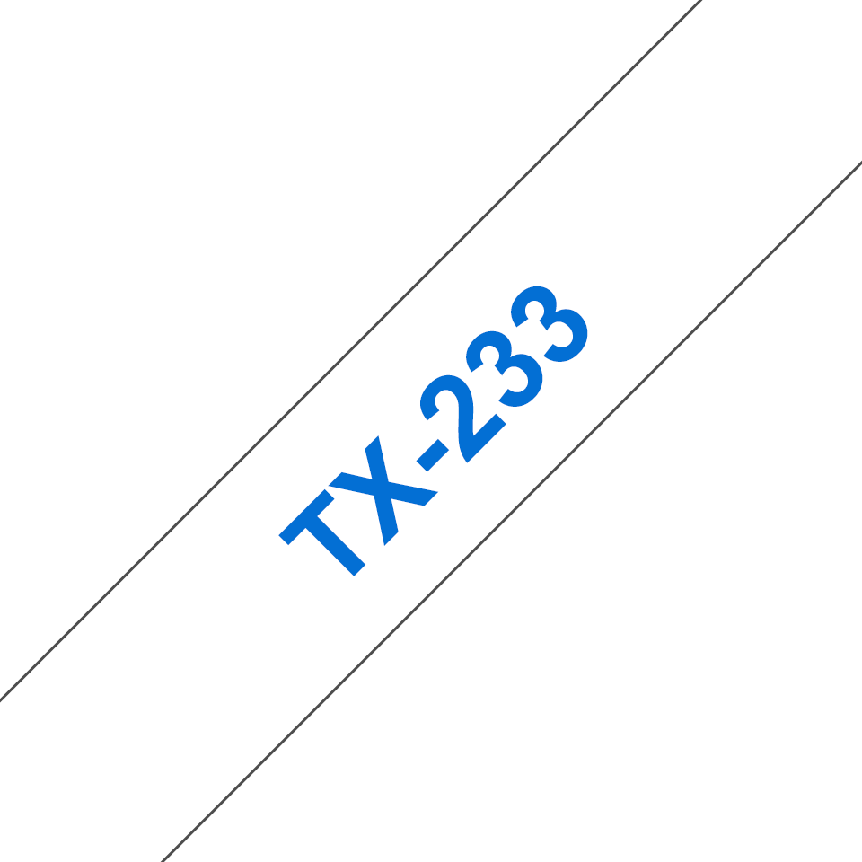 Brother TX-233 Nastro laminato - blu su bianco (12 mm)