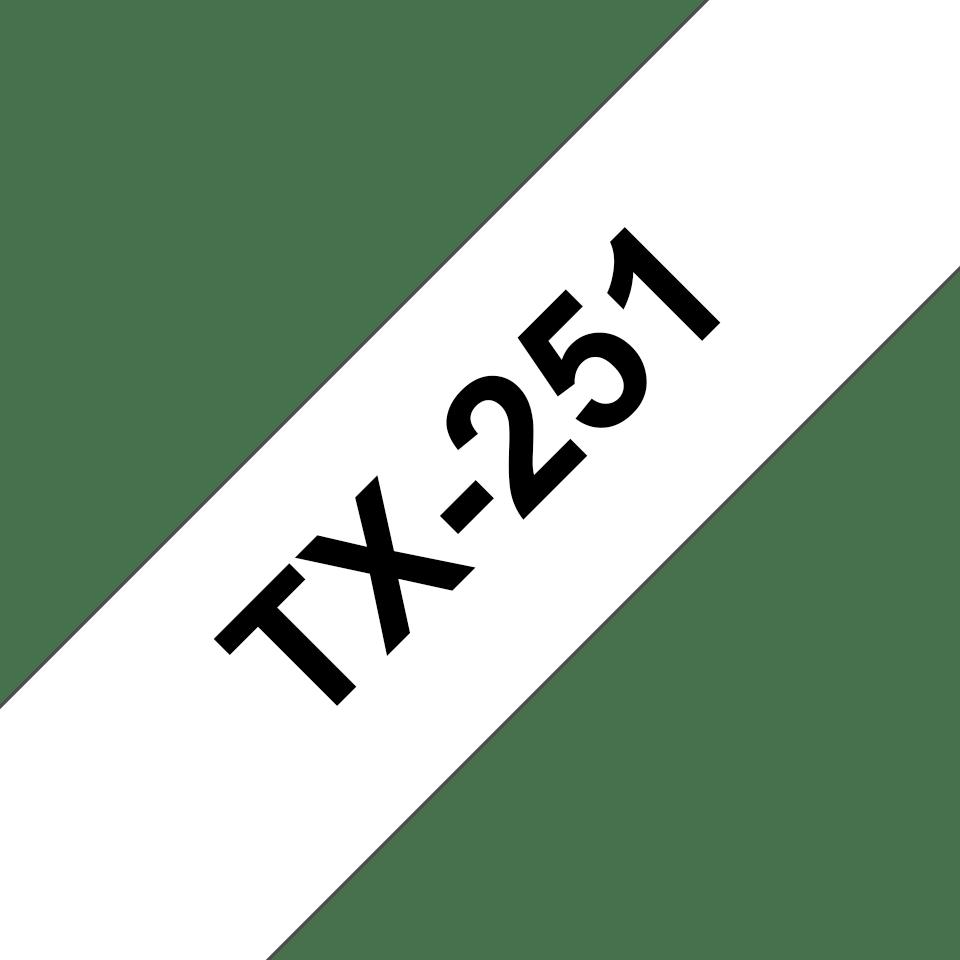 Cassetta nastro per etichettatura originale Brother TX-251 – Nero su bianco, 24 mm di larghezza 0