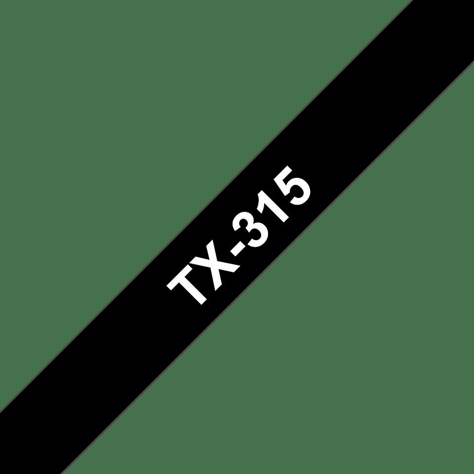 Cassetta nastro per etichettatura originale Brother TX-315 – Bianco su nero, 6 mm di larghezza