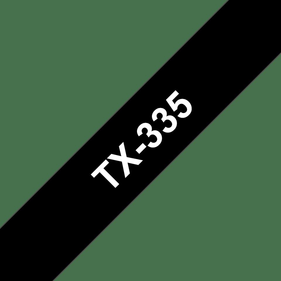 Cassetta nastro per etichettatura originale Brother TX-335 – Bianco su nero, 12 mm di larghezza