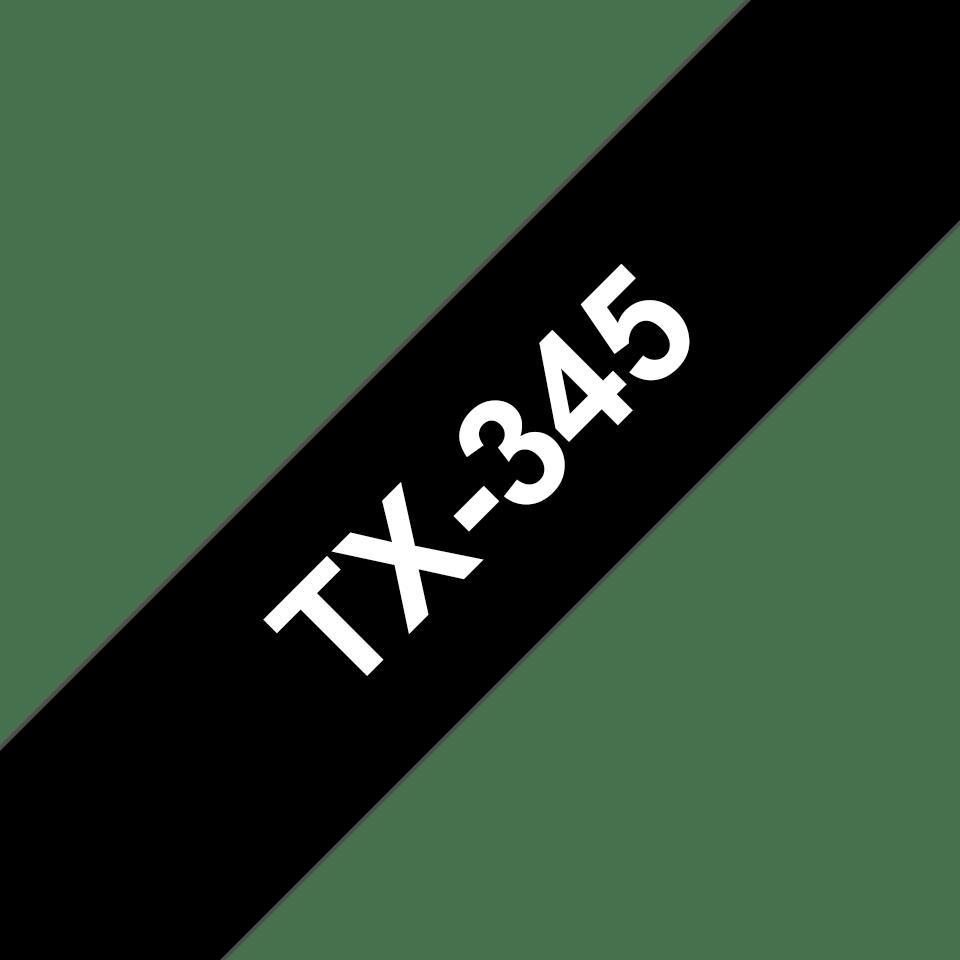 Cassetta nastro per etichettatura originale Brother TX-345 – Bianco su nero, 18 mm di larghezza