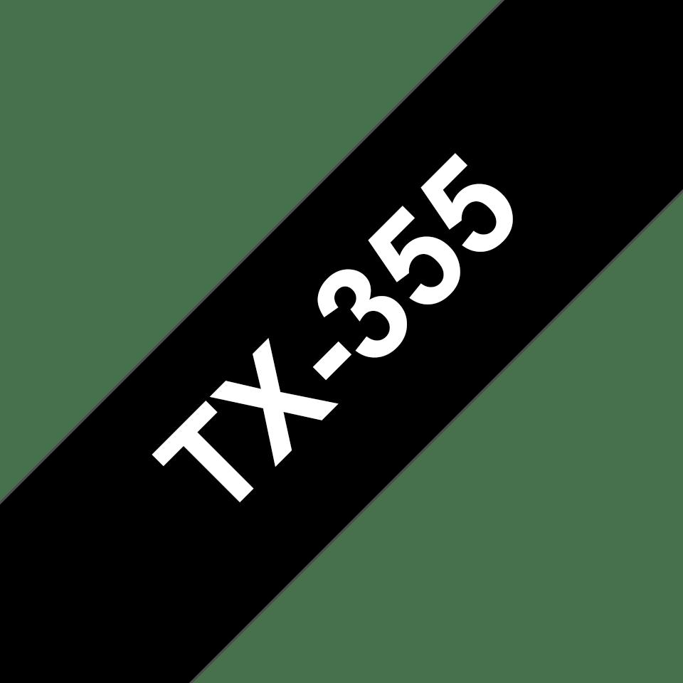 Cassetta nastro per etichettatura originale Brother TX-355 – Bianco su nero, 24 mm di larghezza