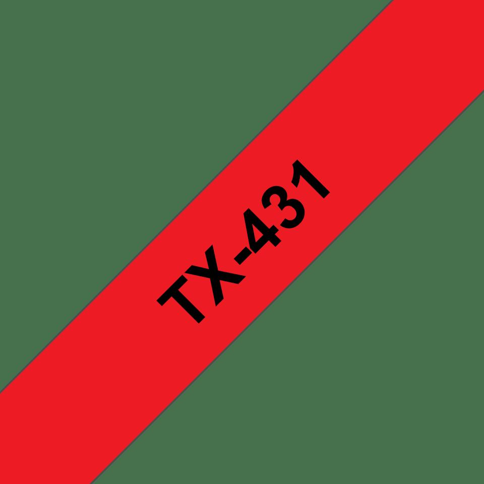 Cassetta nastro per etichettatura originale Brother TX-431 – Nero su rosso, 12 mm di larghezza
