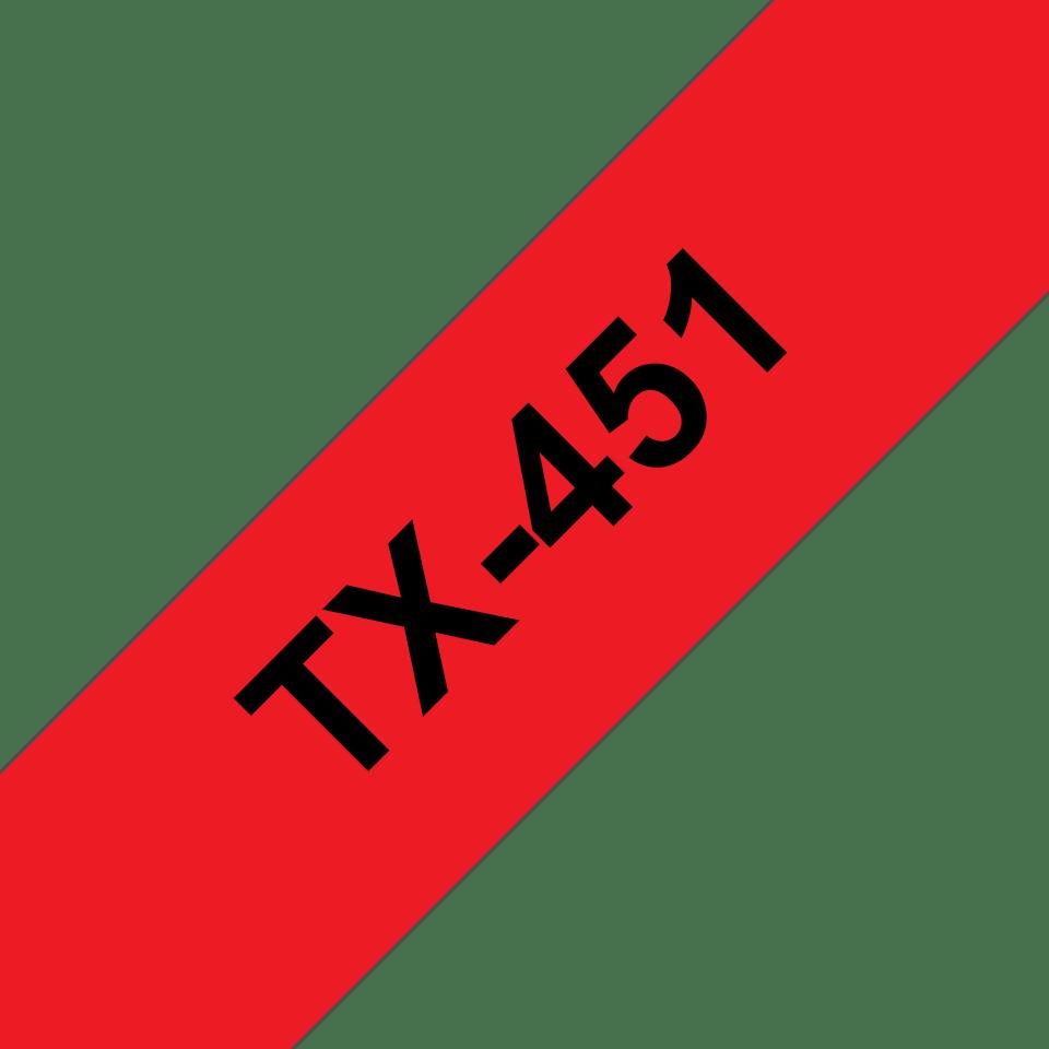 Cassetta nastro per etichettatura originale Brother TX-451 – Nero su rosso, 24 mm di larghezza