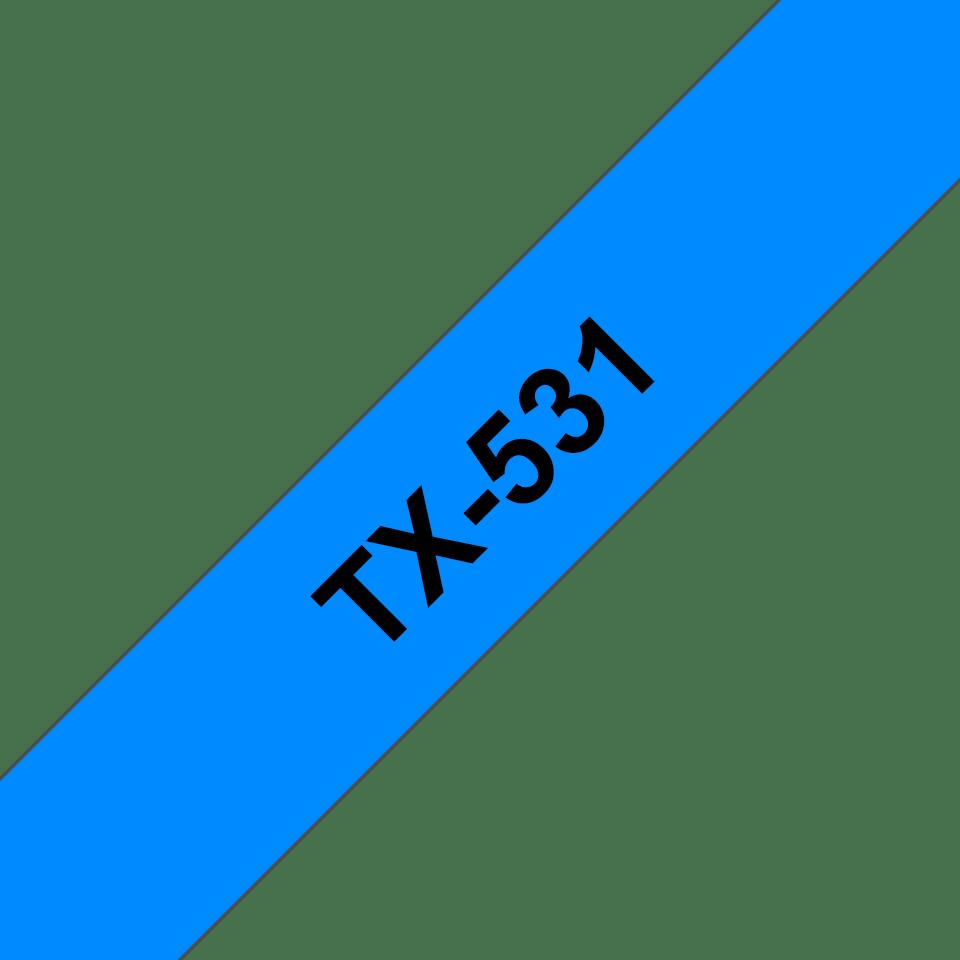 Cassetta nastro per etichettatura originale Brother TX-531 – Nero su blu, 12 mm di larghezza