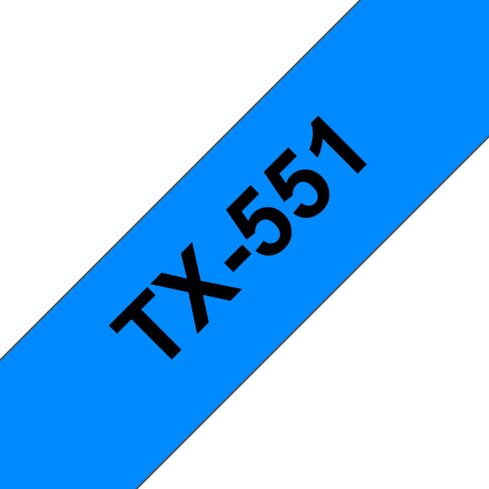 Cassetta nastro per etichettatura originale Brother TX-551 – Nero su blu, 24 mm di larghezza 0
