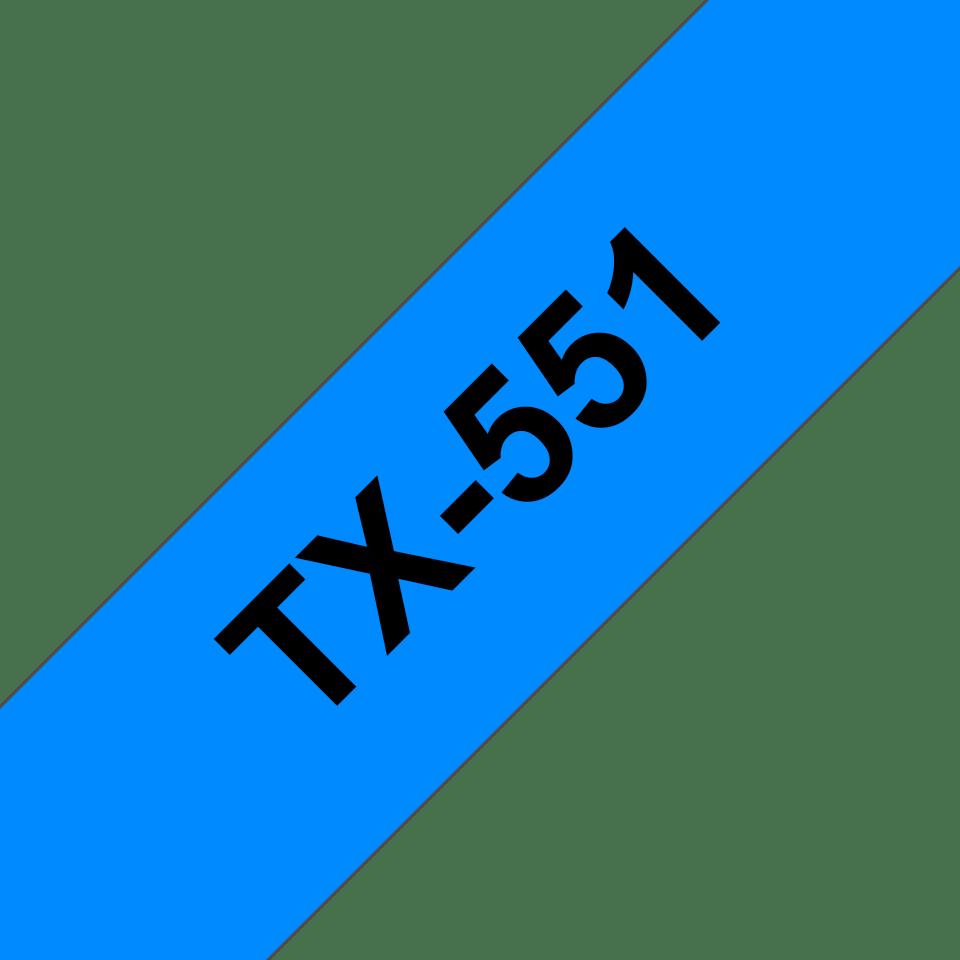 Cassetta nastro per etichettatura originale Brother TX-551 – Nero su blu, 24 mm di larghezza