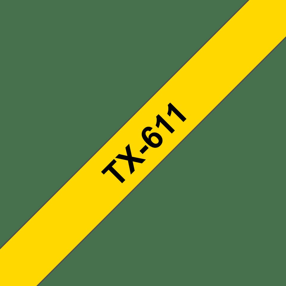 Cassetta nastro per etichettatura originale Brother TX-611 – Nero su giallo, 6 mm di larghezza