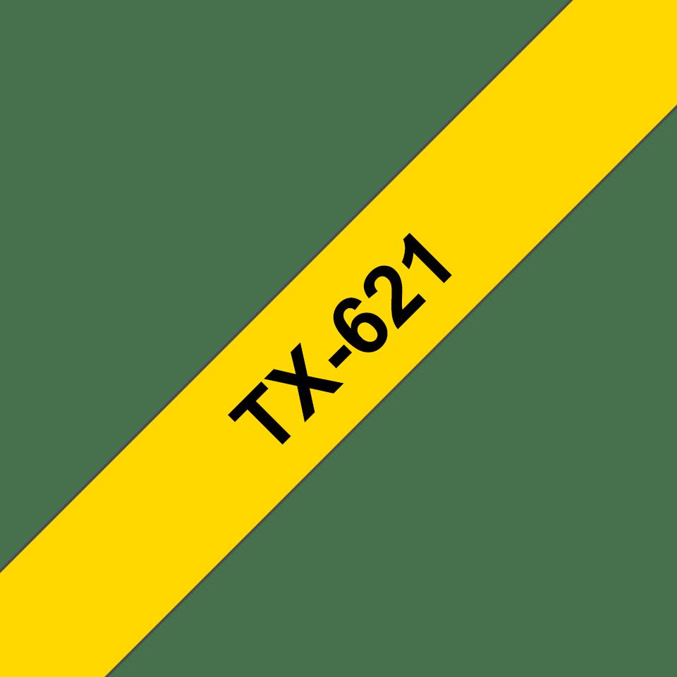Cassetta nastro per etichettatura originale Brother TX-621 – Nero su giallo, 9 mm di larghezza