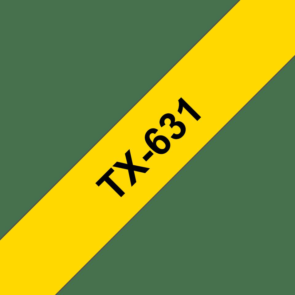 Cassetta nastro per etichettatura originale Brother TX-631 – Nero su giallo, 12 mm di larghezza