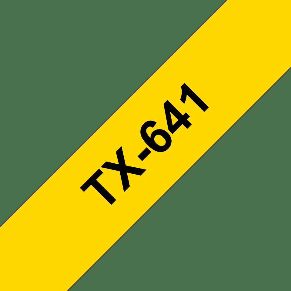 Cassetta nastro per etichettatura originale Brother TX-641 – Nero su giallo, 18 mm di larghezza