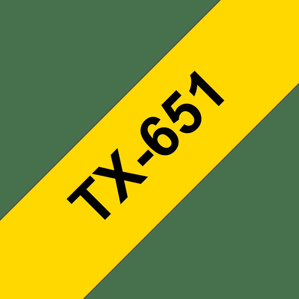 Nastro per etichettatura originale Brother P-touch TX-651 – Nero su giallo, 24 mm di larghezza 0