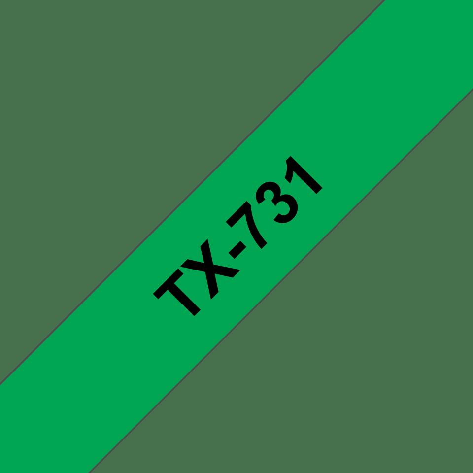 Cassetta nastro per etichettatura originale Brother TX-731 – Nero su verde, 12 mm di larghezza