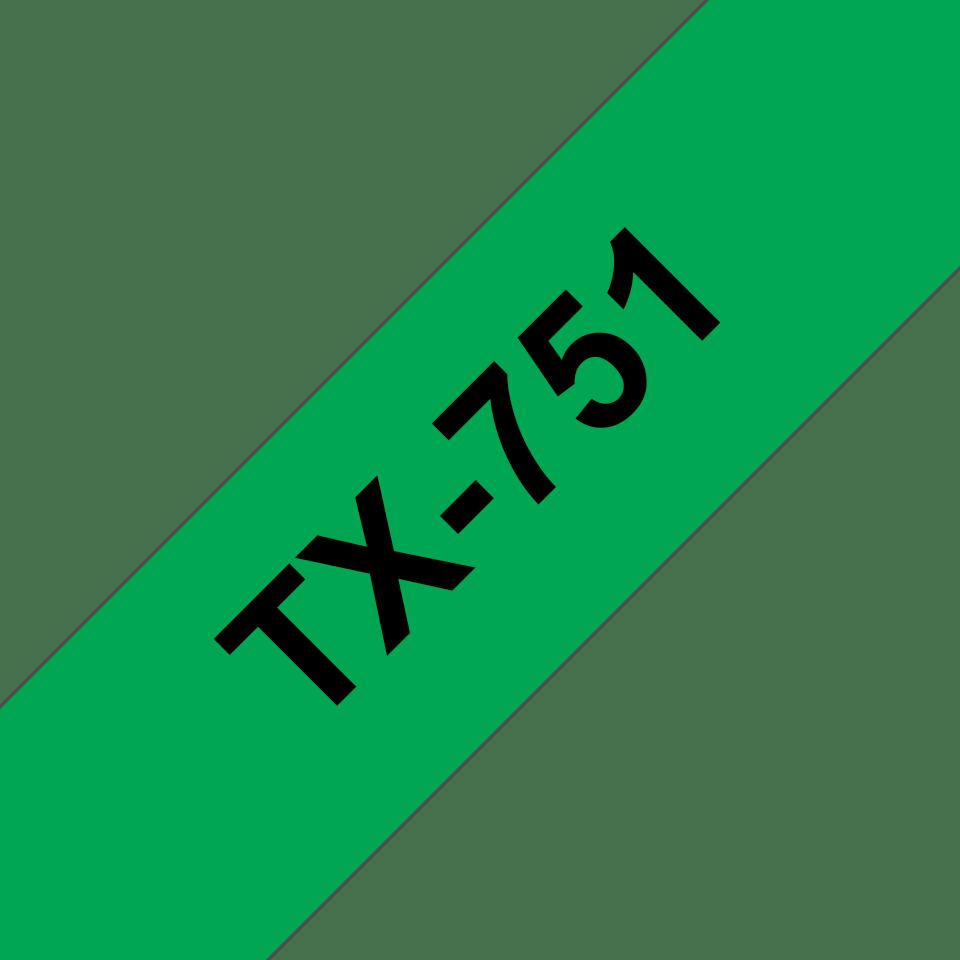 Cassetta nastro per etichettatura originale Brother TX-751 – Nero su verde, 24 mm di larghezza