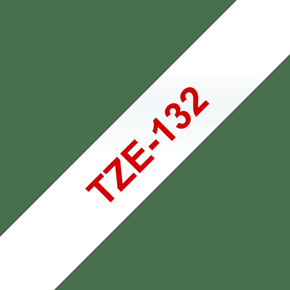Nastro per etichettatura originale Brother TZe-132 – Rosso su trasparente, 12 mm di larghezza 3