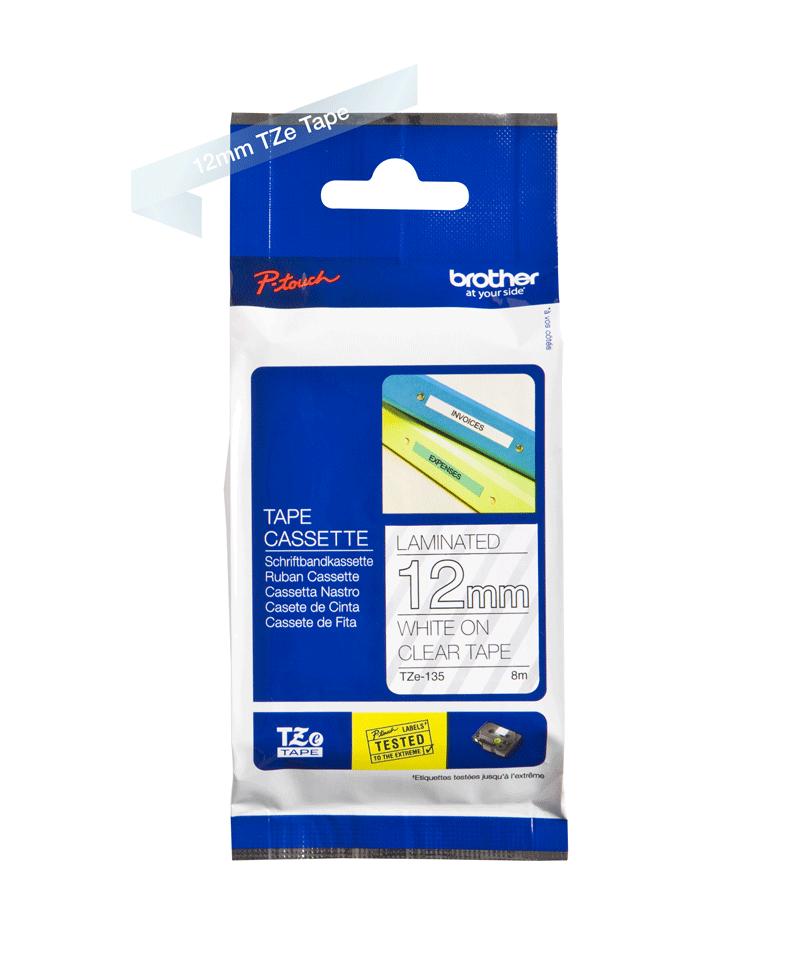 Cassetta nastro per etichettatura originale Brother TZe-135 – Bianco su trasparente, 12 mm di larghezza 2