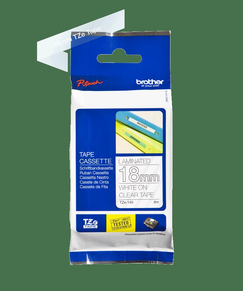 Cassetta nastro per etichettatura originale Brother TZe-145 – Bianco su trasparente, 18 mm di larghezza 2