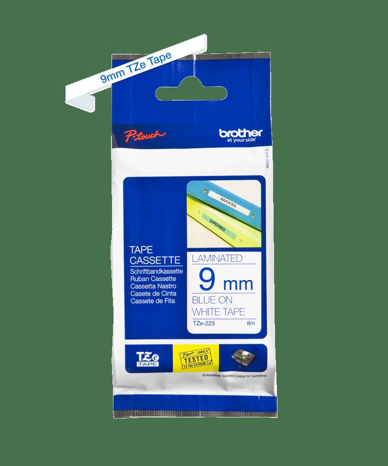 Cassetta nastro per etichettatura originale Brother TZe-223 – Blu su bianco, 9 mm di larghezza 2
